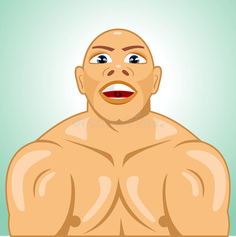 Kale bodybuilder spannende spieren vector illustratie