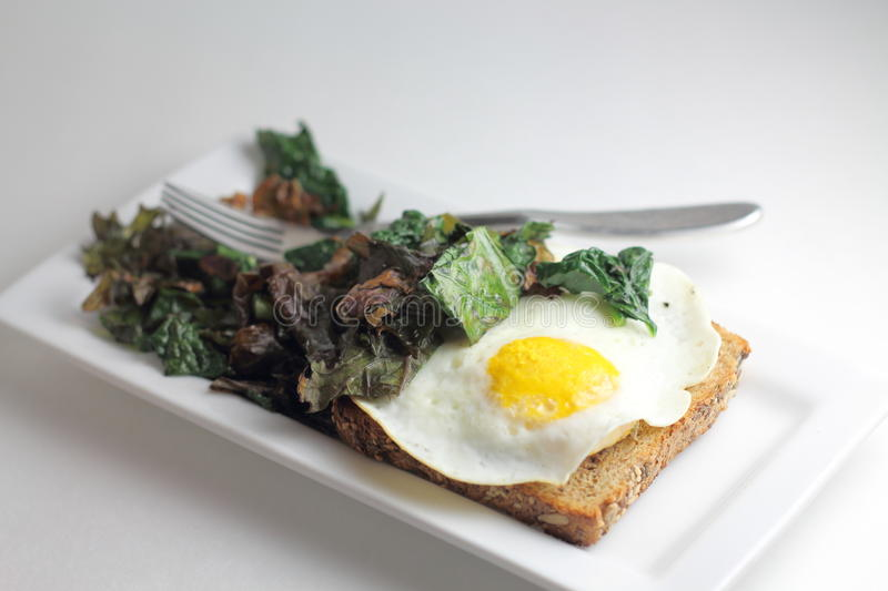 Kale and Egg Toast. Healthy, Organic Breakfast of Hearty, Sautéed Spinach and Kale with an Egg Over Easy on a Piece of Sprouted Grain Bread royalty free stock photo