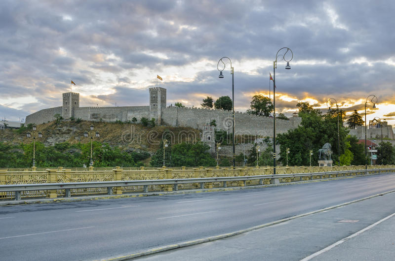 Kale fortress in Skopje, Macedonia. Stone fence bridge road and citadel, sunrise and watchtower on one of the Kale fortress in Skopje, Macedonia royalty free stock photo
