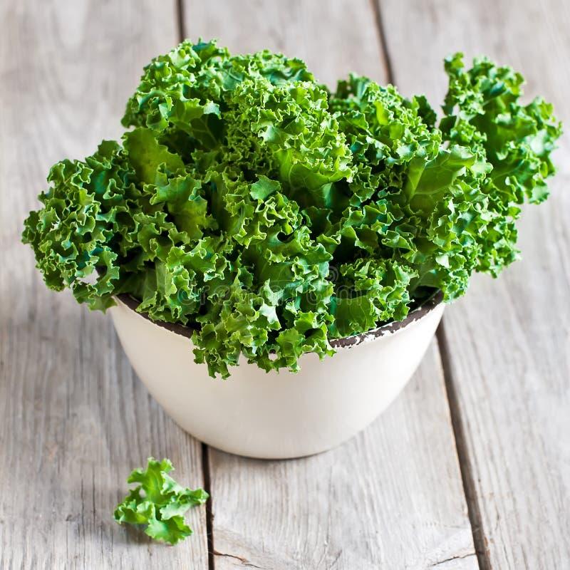 Kale. Fresh green kale in ceramic bowl. Selective focus