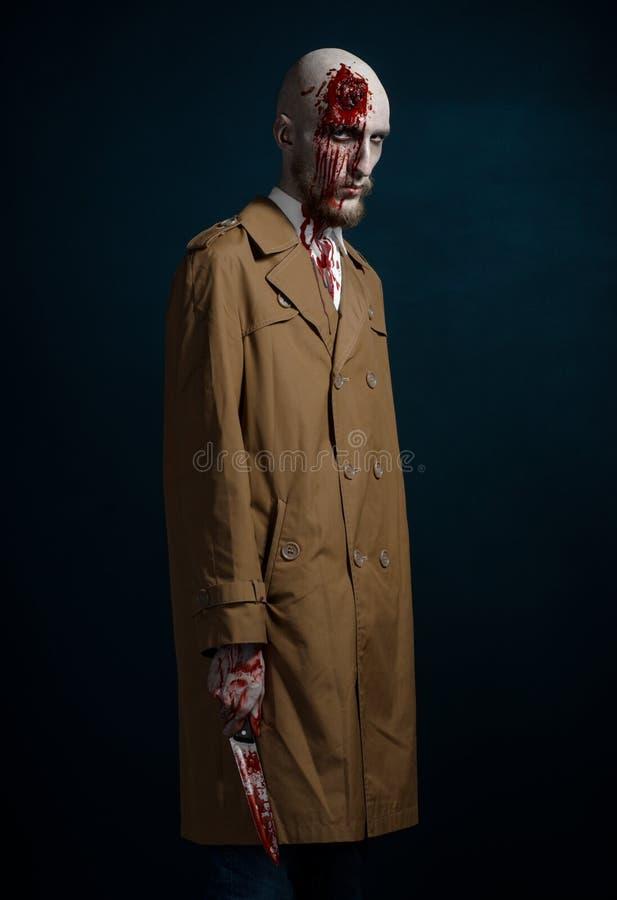 Kale mens met een gebroken hoofd stock afbeelding