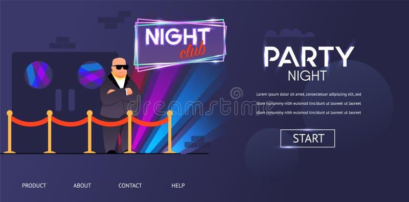 Kale Uitsmijter in Zonnebril buiten de Deur van de Nachtclub vector illustratie
