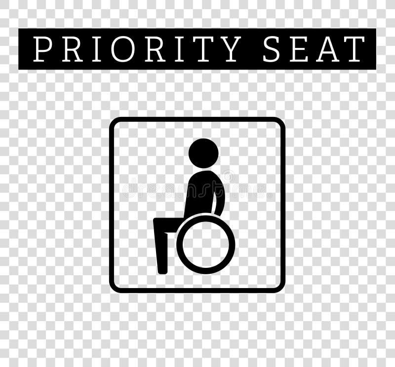 Kalectwa lub kaleka w wózka inwalidzkiego znaku Priorytetu miejsca siedzące dla klientów, specjalna miejsce ikona odizolowywająca royalty ilustracja