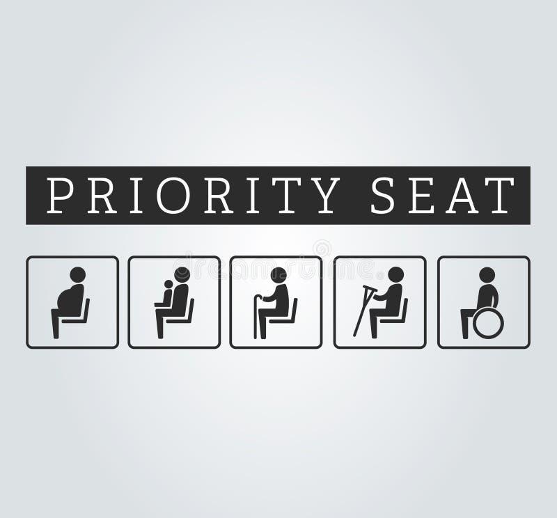 Kalectwa, seniory, kaleka i ciężarny z dziecko terenu znaka setem, mama lub matka Priorytetu miejsca siedzące dla klientów, specj ilustracja wektor