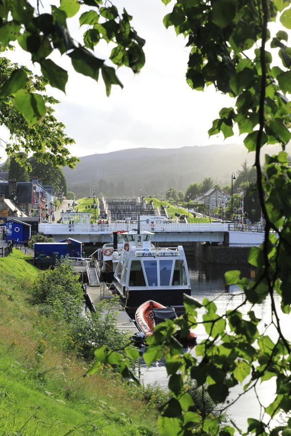 Kaledonischer, Caledonian canal with ships and watergate, in Scottish highlands at Loch Ness. Kaledonischer, caledonischer canal with ships and watergate stock photography