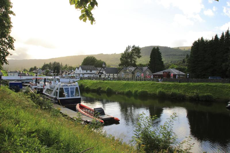 Kaledonischer, Caledonian canal with ships and watergate, in Scottish highlands at Loch Ness. Kaledonischer, caledonischer canal with ships and watergate stock photos