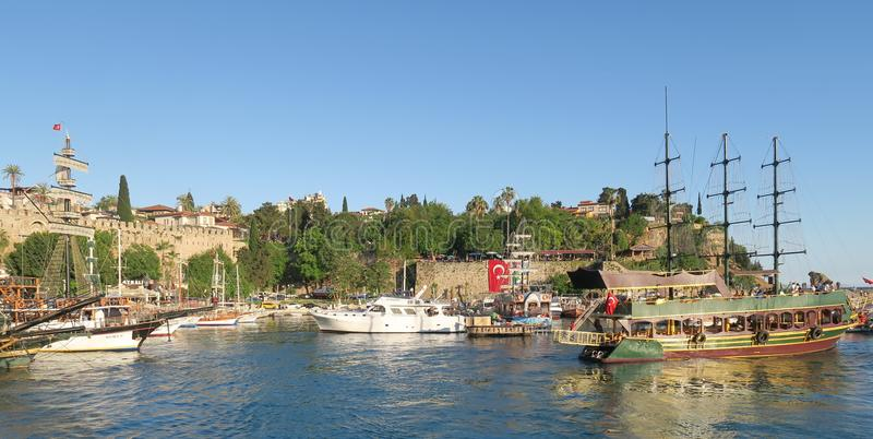 Kaleici Oldtown Harbour with Sailing Ships in Antalya, Turkey royalty free stock photo