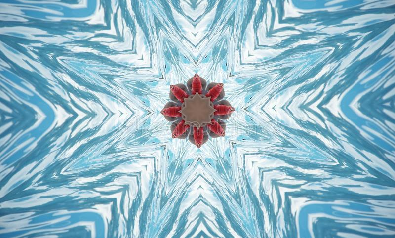 Kaleidoscope abstract of blue water splash royalty free stock photo