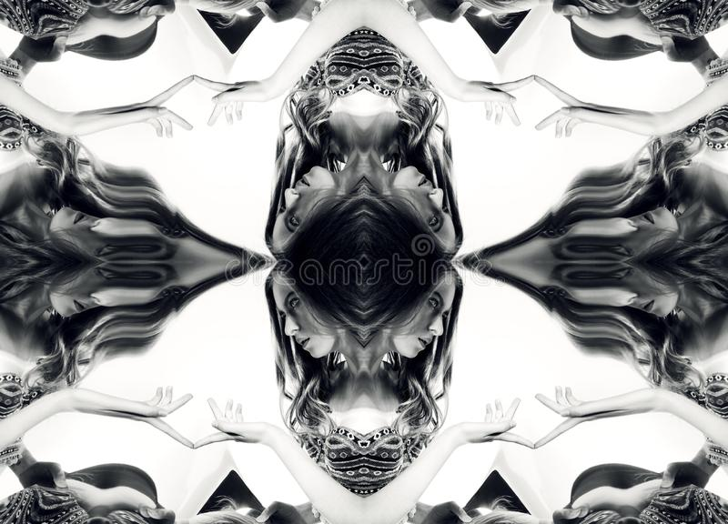 Kaleidoscope. Abstract montage of a beautiful young woman on white background. Black and white art portrait royalty free stock image