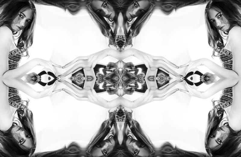 Kaleidoscope. Abstract montage of a beautiful young woman on white background. Art portrait stock images