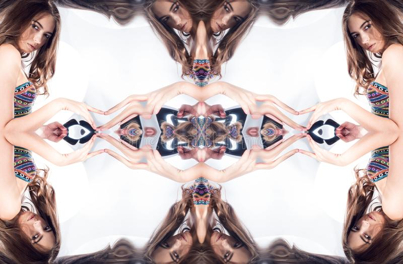 Kaleidoscope. Abstract montage of a beautiful young woman royalty free stock image