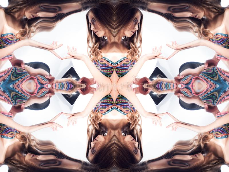 Kaleidoscope. Abstract montage of a beautiful young woman on white background royalty free stock photos