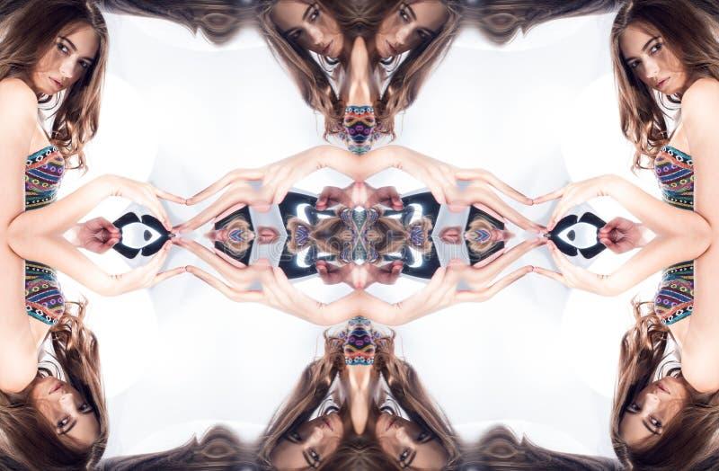kaleidoscope Abstrakt montage av en härlig ung kvinna vektor illustrationer