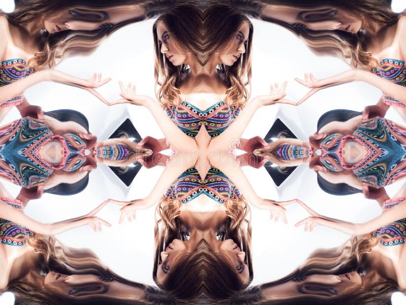 kaleidoscope Abstrakt montage av en härlig ung kvinna på vit bakgrund royaltyfri illustrationer