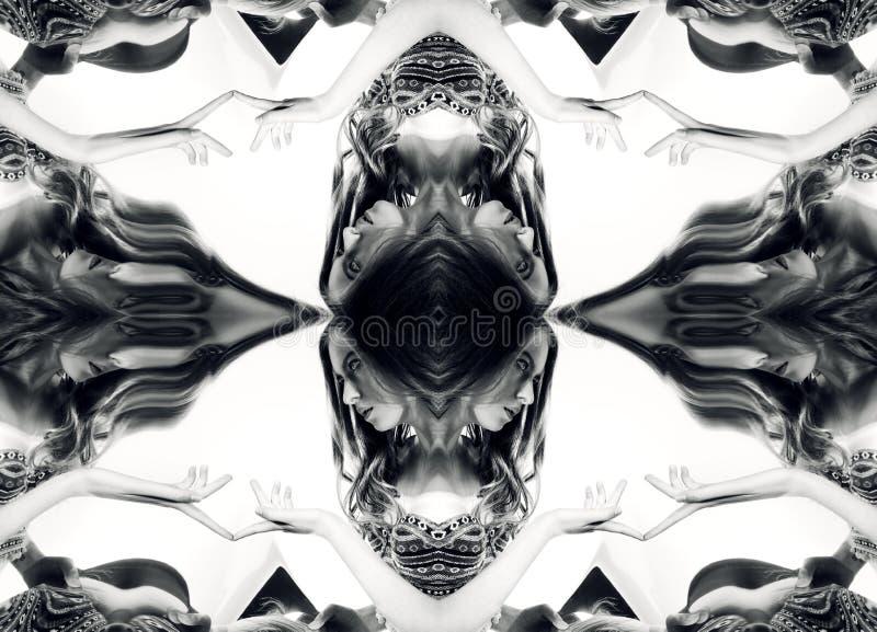 kaleidoscope Abstrakt montage av en härlig ung kvinna på whi vektor illustrationer