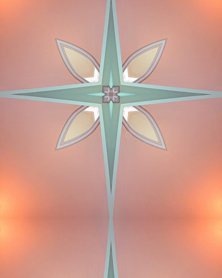 Kaleidoscope Cross: Mt. Angel Abbey interior stock image