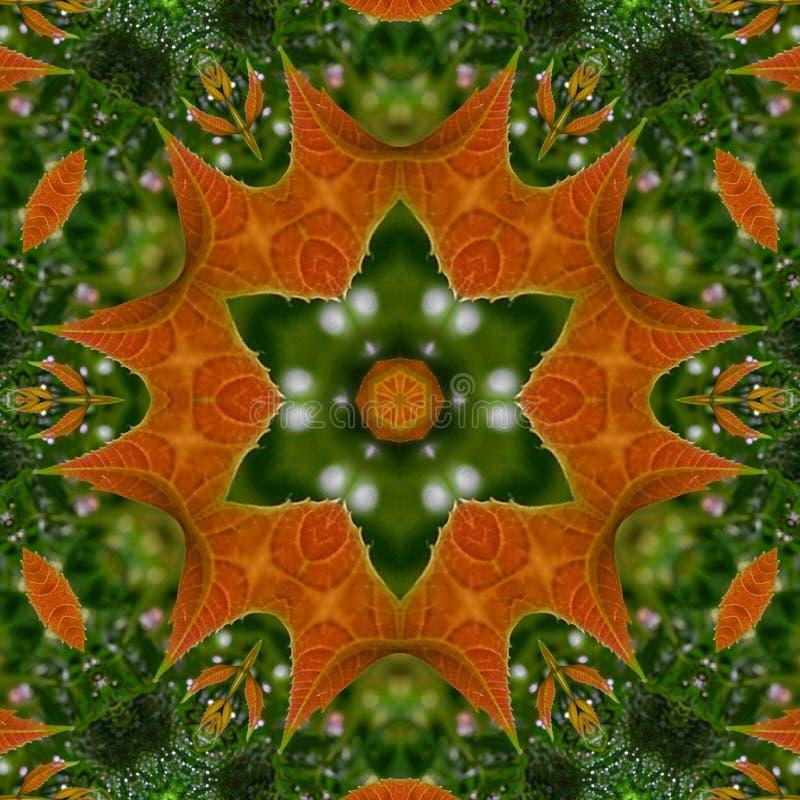 Kaleidoscope 2 Editar com Folha Verde ilustração stock