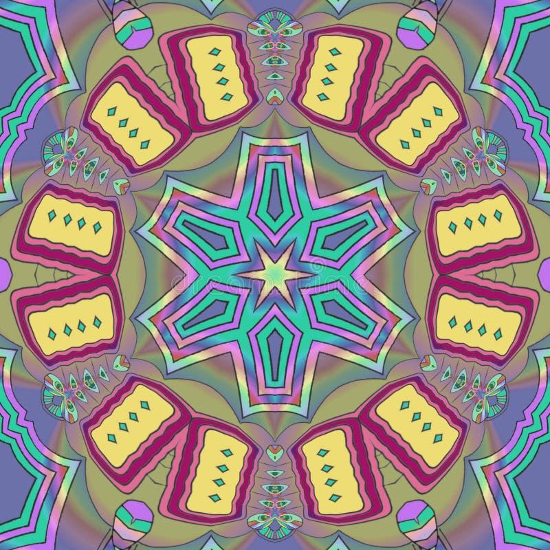 Kaleidoscope flower worh yellow cookies. Design art paint stock images