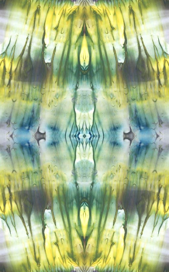 kaleidoscope Ljus symmetrisk bakgrund Blåa, gröna, vita och gula pigment abstrakt målningsvattenfärg seamless modell royaltyfri illustrationer