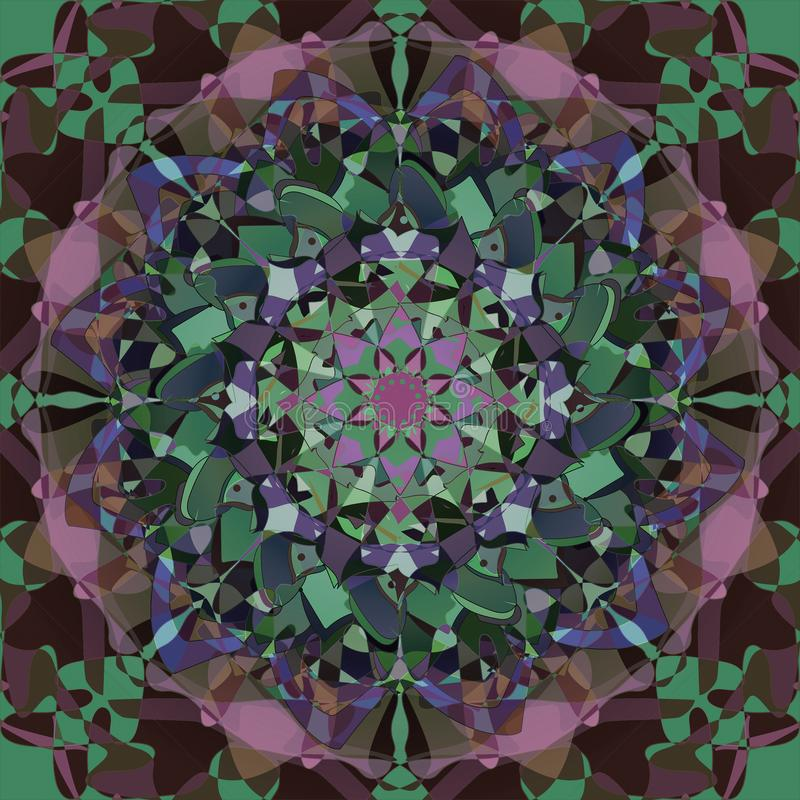 KALEIDOSCOPE MANDALA. ABSTRACT BACKGROUND IN GREEN AND BROWN. CENTRAL IMAGE IN PURPLE, BLUE, GREEN AND PINK stock illustration