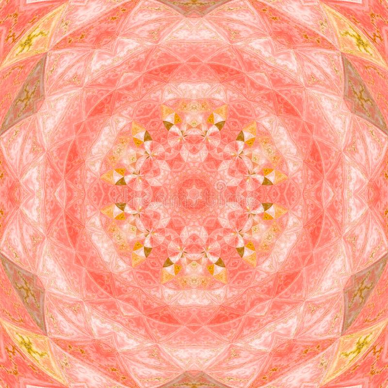 Kaleidoscope mandala star with circles watercolor illustration in pink and orange colors royalty free stock photography