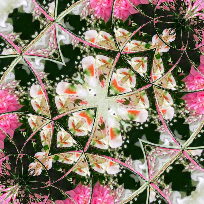 Kaleidoscope Mehndi style with circles illustration pink floral fractal. Kaleidoscope Mehndi style with circles watercolor illustration pink floral fractal stock photography