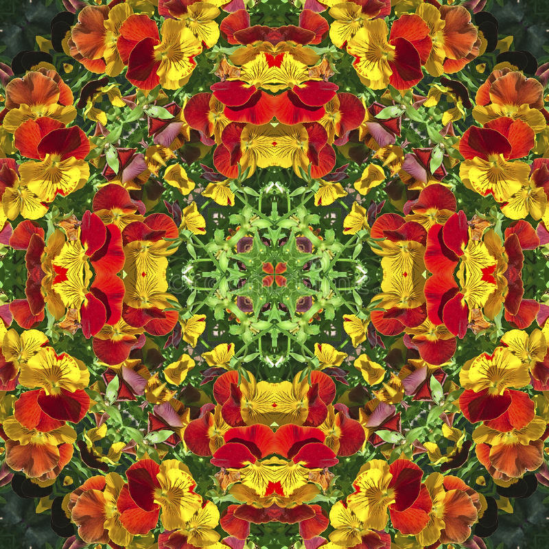 Kaleidoscope with natural motives of yellow and orange flowers vector illustration