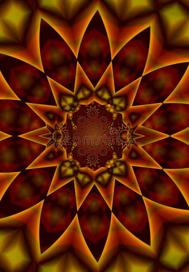 Kaleidoscope Pattern in Reds stock photography