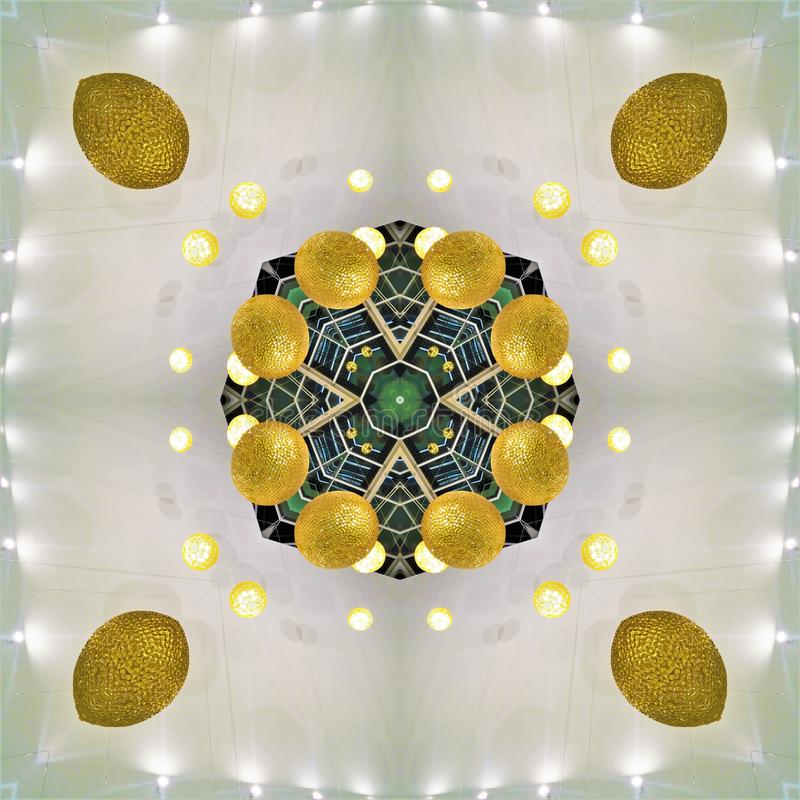 A kaleidoscope of photos is an element of interior design. Architecture. Golden balls, lights. Green, grill. Trends, style royalty free stock photos