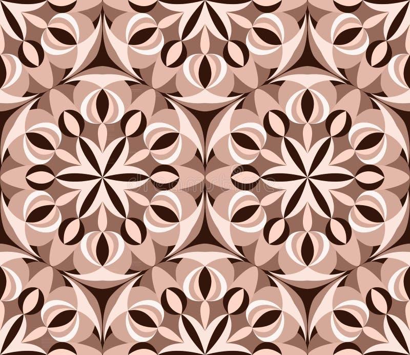 Kaleidoscope seamless pattern. Pink Decorative mandala ornament. Geometric design element. Floral wallpaper, fabric, furniture, vector illustration