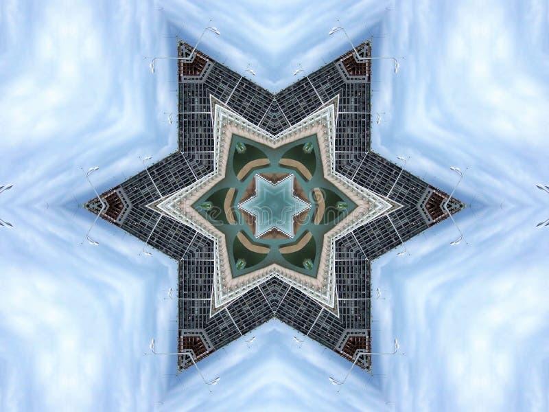 Kaleidoscopic απεικόνιση των δομών χάλυβα και των κτηρίων απεικόνιση αποθεμάτων