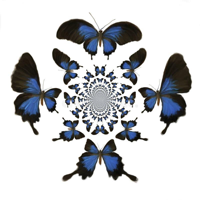 Kaleidoscopic fjärilsillustration stock illustrationer