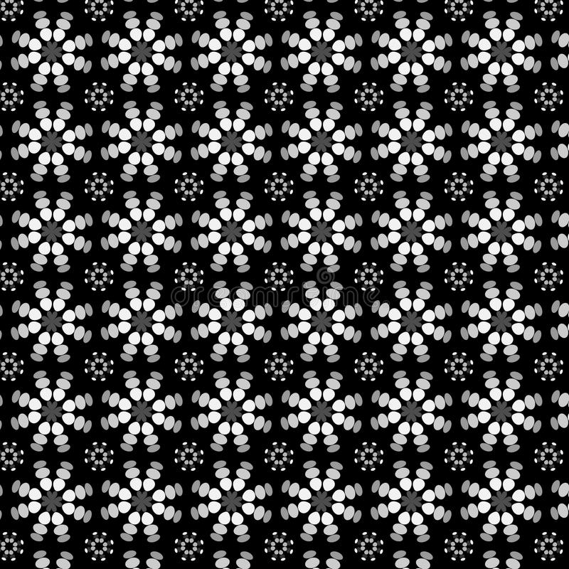 Kaleidoscopic floral pattern in black and white vector illustration