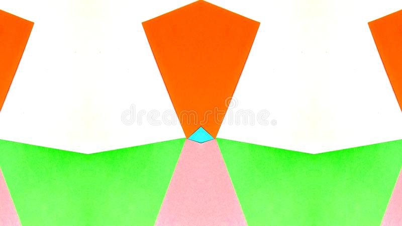 Kaleidoscopic illustration of colored papers stock photography