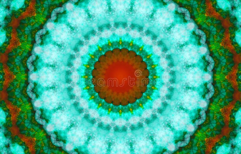 Kaleidoscopic pattern in green cyan and red tones. Geometric ornament . Mandala . Abstract background stock illustration