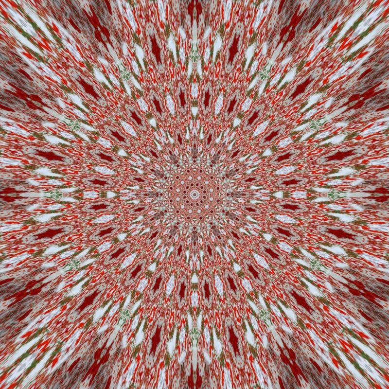 Kaleidoscopic red pattern stock illustration