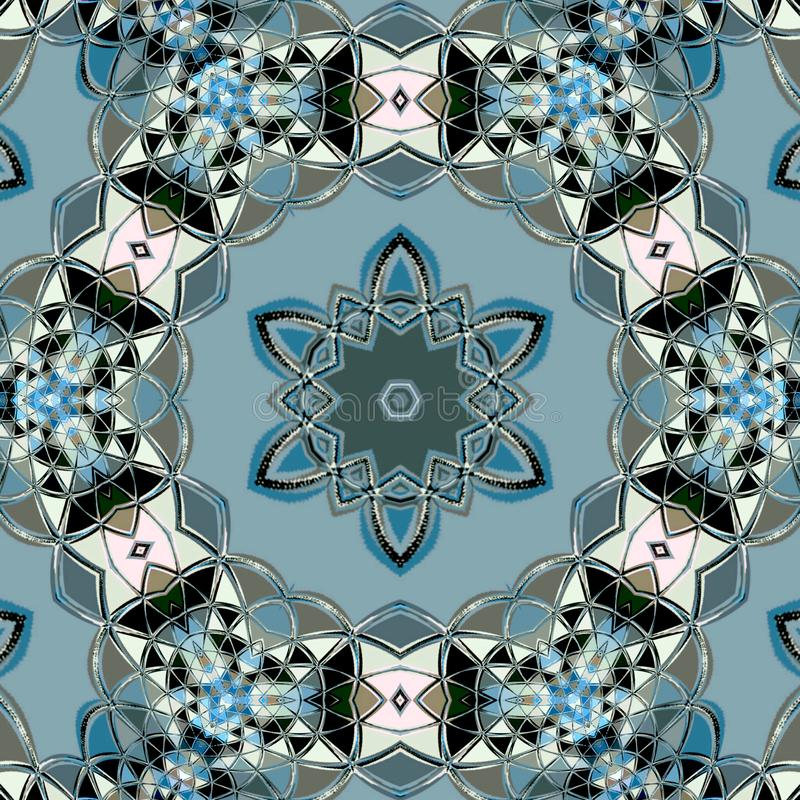 Kaleidoscopic tile with star in frame royalty free illustration