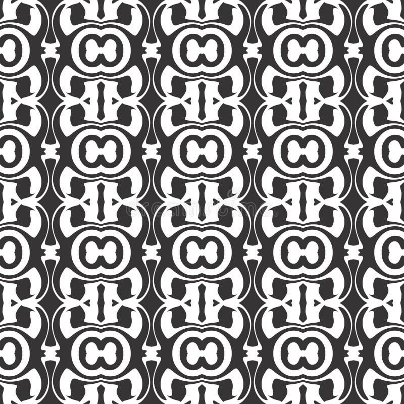 Kaleidoskop-Freistilschwarzweiss-entwurf des Vektors abstrakter, nahtloses Muster oder Entwurf stock abbildung