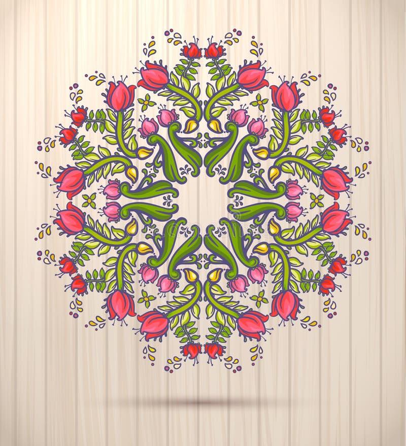 Kaleidoskopisches Frühlingsmuster der dekorativen runden Blumenspitzes, Mandala lizenzfreie abbildung