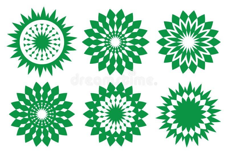 Kaleidoskopisches Gestaltungselement des grünen Retro- Vektors lizenzfreie abbildung