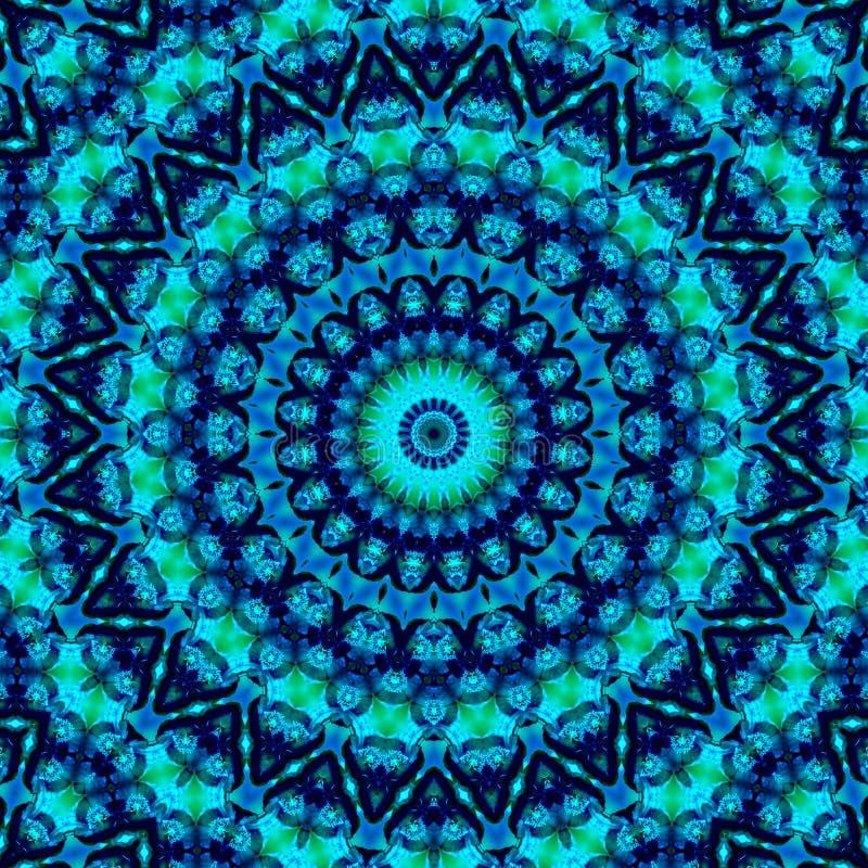 Kaleidoskopisches Muster Geometrisches Ornament Mandala Abstrakter Hintergrund in Blau- und Grüntönen lizenzfreie abbildung