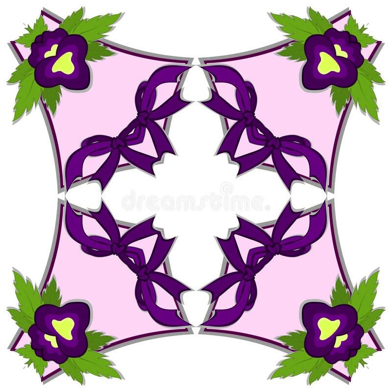 Kalejdoskop ilustracja - purpurowy pansy kwiat ilustracji