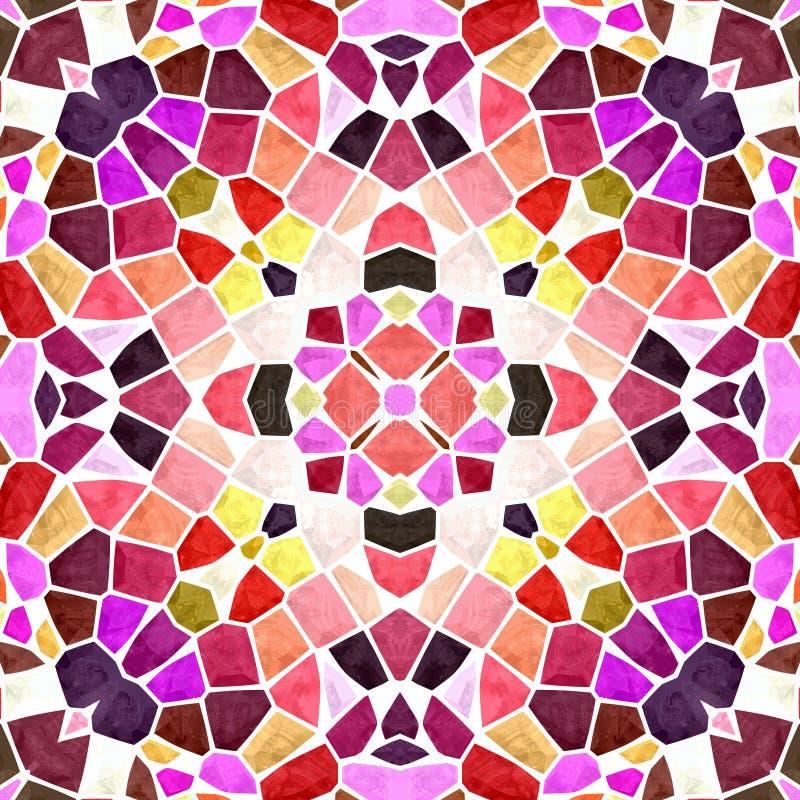 Kalejdoskop tekstury bezszwowy deseniowy tło - różowe fiołkowe purpury wałkonią się pomarańczową czerwień barwiącą z białym grout ilustracji