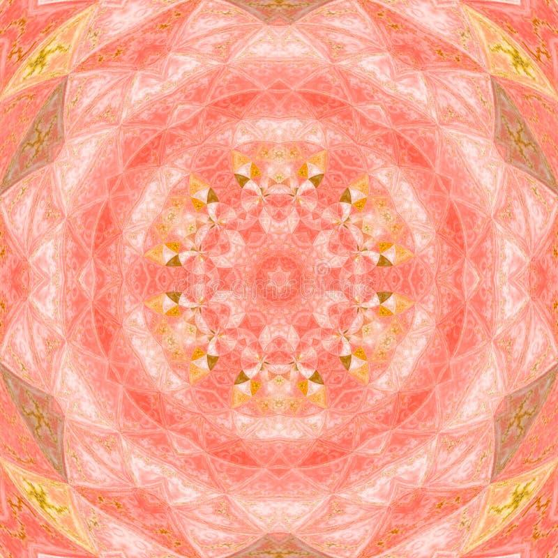 Kalejdoskopmandalastjärna med cirkelvattenfärgillustrationen i rosa färger och apelsinfärger royaltyfri fotografi