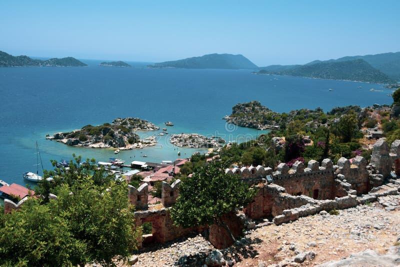 Kalekoy手段, Kekova,土耳其山风景  免版税图库摄影