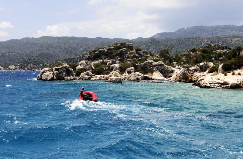 Fisherman boat in Mediterranean, Antalya royalty free stock image