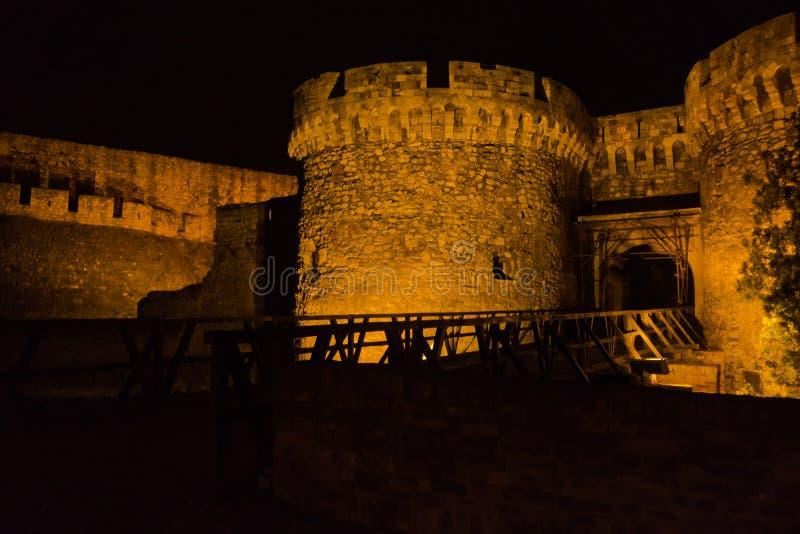 Kalemegdan fortress wooden bridge, gates and towers at night in Belgrade stock photo