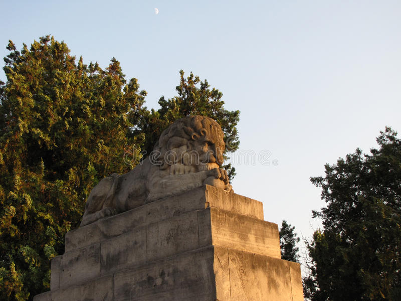 Kalemegdanvesting in Belgrado op de zomer, leeuw royalty-vrije stock foto