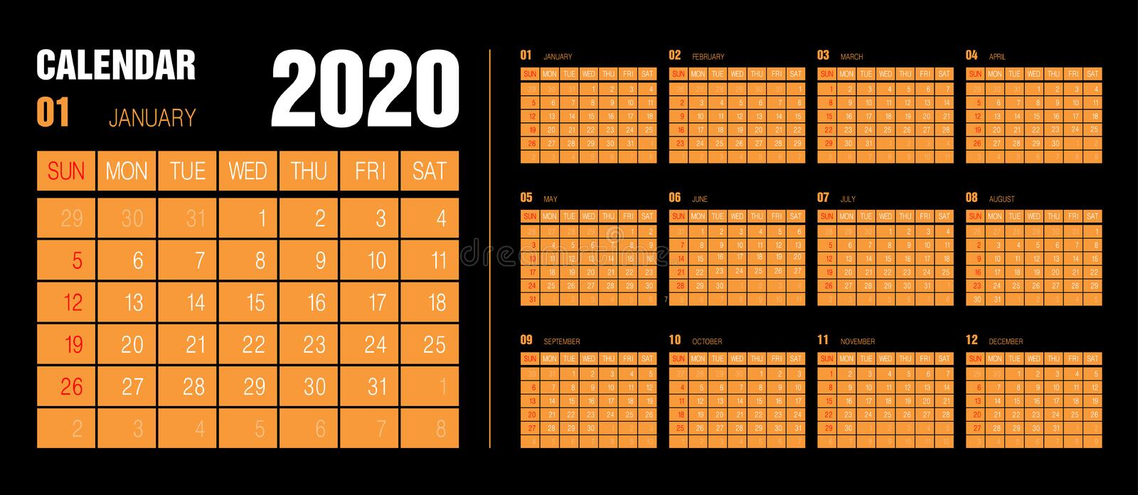 Calendar 2020 years. Vector. Week starts on Sunday. Vertical English calender design template black white and orange stock illustration