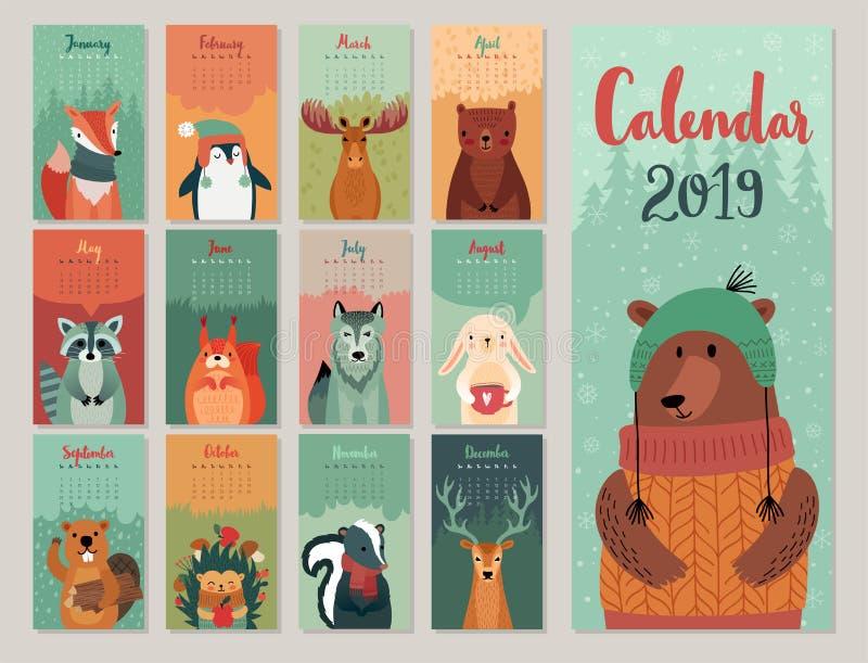 Kalendarz 2019 Śliczny miesięcznika kalendarz z lasowymi zwierzętami Ręka rysujący stylowi charaktery